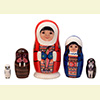 "Native Alaskan Couple Fuzzy Nesting Doll - 5"" w/ 5 Pieces"